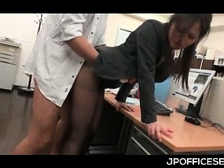 Asian office cutie in pantyhose nailed wean away from behind space fully huge BJ