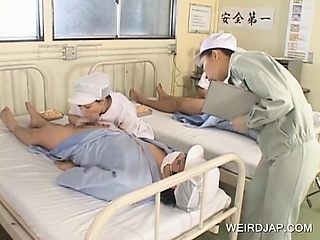 Sexy Japanese nurses well-known BJs to powered patients