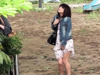 Irregular ladies piss outside