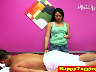 Adorable asian masseuse blowing customers horseshit