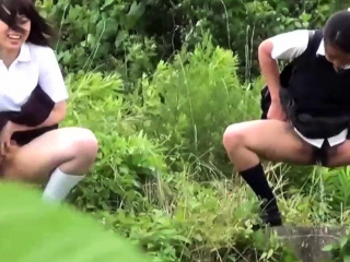 Pissing japanese teens close to unvaried