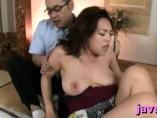 Big titted oriental milf rides hard penis rocklike