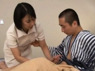 Japanese milf nurse bows over for a hardcore vagina yearn