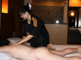 Big butt Asian crude fleshy massage and fucked on top
