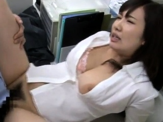 Ill-behaved asian cutie opens hairy pussy for hardcore hammering