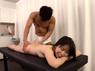 Asian second-rate masturbates with a small