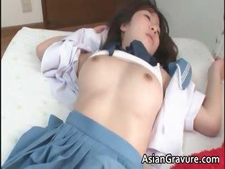 Nasty oriental schoolgirl sucks specious part3